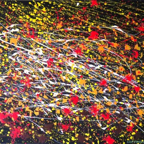 tourbillon de feuilles d'automne- avant l'hiver tout blanc, la nature se pare de couleurs - dripping - gilbert bellefeuille