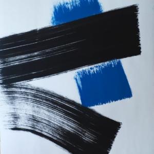 graphisme - minimalisme à la japonaise -le bleu, le noir, chacun son geste - gilbert bellefeuille