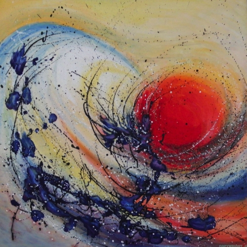 une vague donne naissance au soleil - influences japonaises - dripping - gilbert bellefeuille
