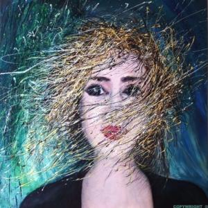 jeune femme cheveux au vent- la tête en fleur un beau soir d'été - dripping - gilbert bellefeuille