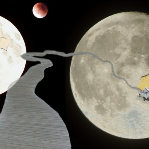 monde imaginaire - photo-montage - lune - rêve - passage - maison-araignée- voyage interplanétaire - gilbert bellefeuille