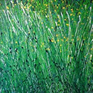 des fleurs dans l'herbe du printemps- place à la verdure - dripping - gilbert bellefeuille