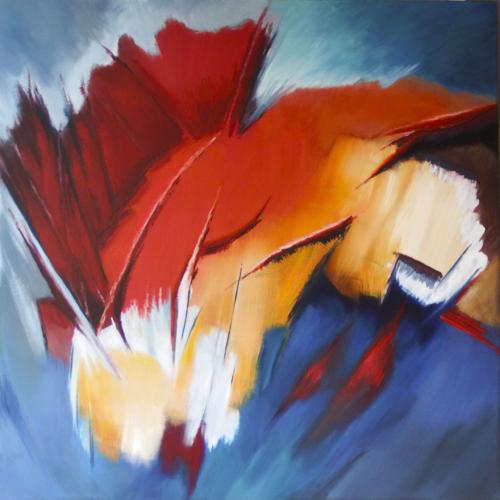 éclats de vie ensoleillée-feu de couleur rouge et orange- impression d'explosion- gilbert bellefeuille