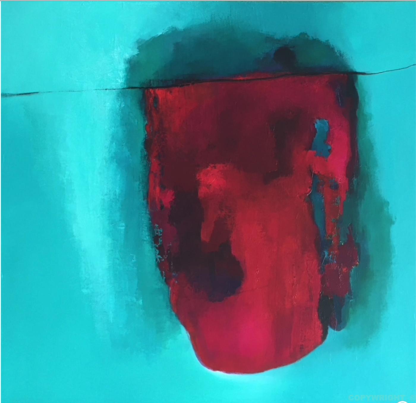 art-peinture- abstraction-tableau-tissus rouge sur fond turquoise, coeur rouge troué-Nathalie Noël