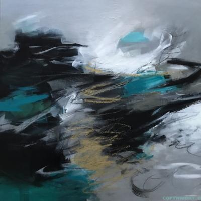 art-peinture- abstraction-tableau-reflets ocres sur fond gris et turquoise-Nathalie Noël