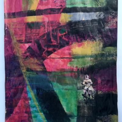 art-peinture-acrylique-encre-pastel-tableau-abstraction et figuratif-enfant-Hélène Patenaude