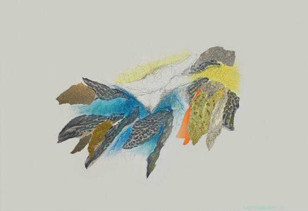 ccollage, abstraction coloré médiums mixtes Sylvie Brodeur