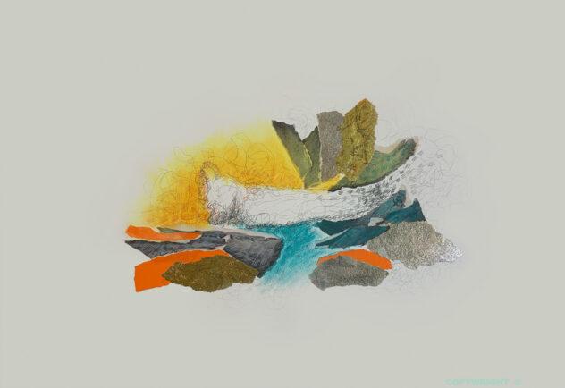 collage, abstraction coloré médiums mixtes Sylvie Brodeur