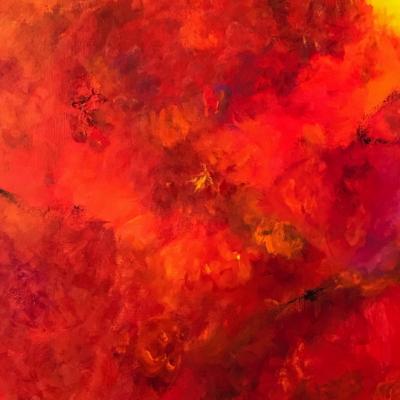 art-peinture- abstraction-tableau-le feu qui ravage tout- rouge intense bouillonnant - une vague rouge déferle - Lise Brassard