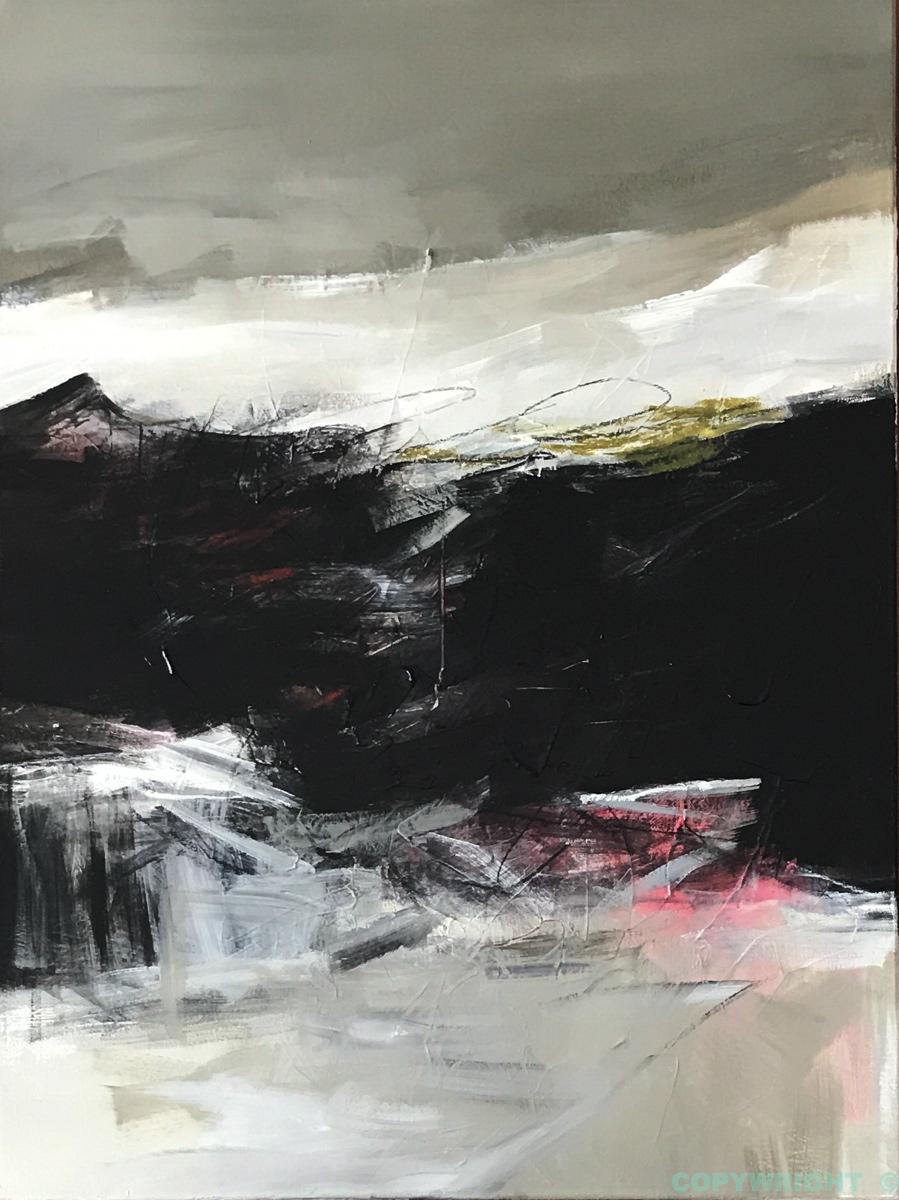 art-peinture- abstraction-tableau-sentier s'avançant vers la nuit noire-Nathalie Noël