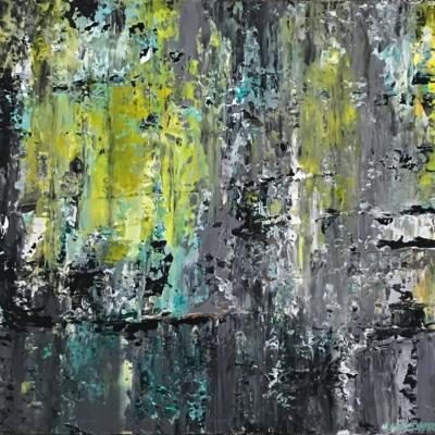 art-peinture- abstraction-tableau-mouvement vertical-Nathalie Noël