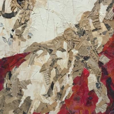 art-abstraction-collage d'objets recyclés-acrylique-carton-Hélène Patenaude