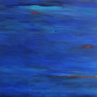 art-peinture- abstraction-tableau-la couleur bleue, toujours apaisante, Lise Brassard