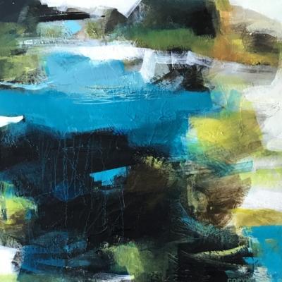 art-peinture- abstraction-tableau-l'eau turquoise cascade entre les rochers-Nathalie Noël