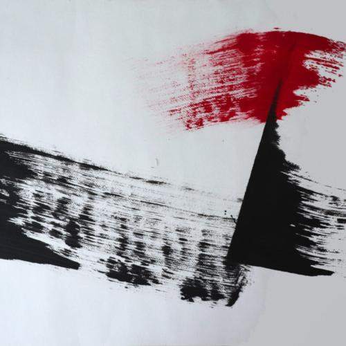 graphisme - minimalisme à la japonnaise - le rouge impose une césure au noir - gilbert bellefeuille