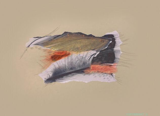 abstraction, collage papiers, pastel sec, papiers déchirés, graphite et crayons de couleur, Sylvie Brodeur