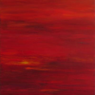 art-peinture- abstraction-tableau-la satisfaction de ce qui a été accompli - rouge ensoleillé -Lise Brassard
