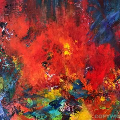 art-peinture- abstraction-tableau-un éclat de lumière - feux d'artifice - la joie - Lise Brassard