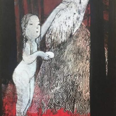 médium mixte- pêtite fille et chouette dans la forêt sous la lune- Hélème Paré