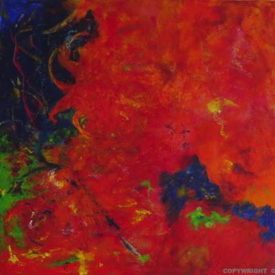 art-peinture- abstraction-tableau-toujours entre l'eau et le feu… - Lise Brassard