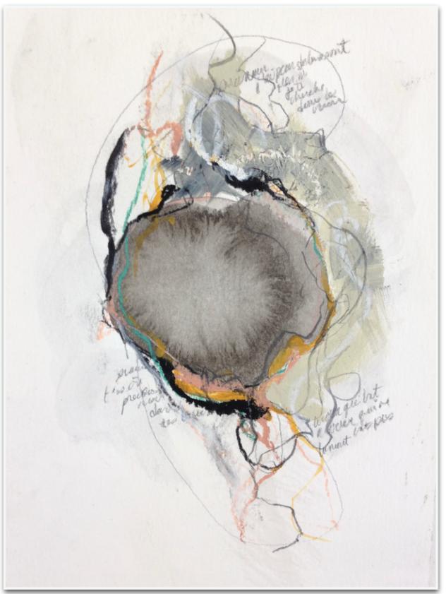 Stéphanie Mélançon Oeuvre de la série Constellations , forme d'oeuf à l'encre