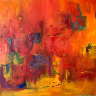 art-peinture- abstraction-tableau-la vie en arrière plan, un peu mystérieuse - Lise Brassard