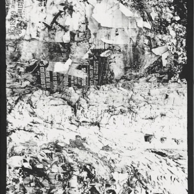 photos noir et blanc alternance écorces et débris de papier Hélène Paré