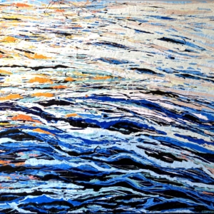 reflets marins sous le soleil d'été, calmes miroitements - dripping - gilbert bellefeuille