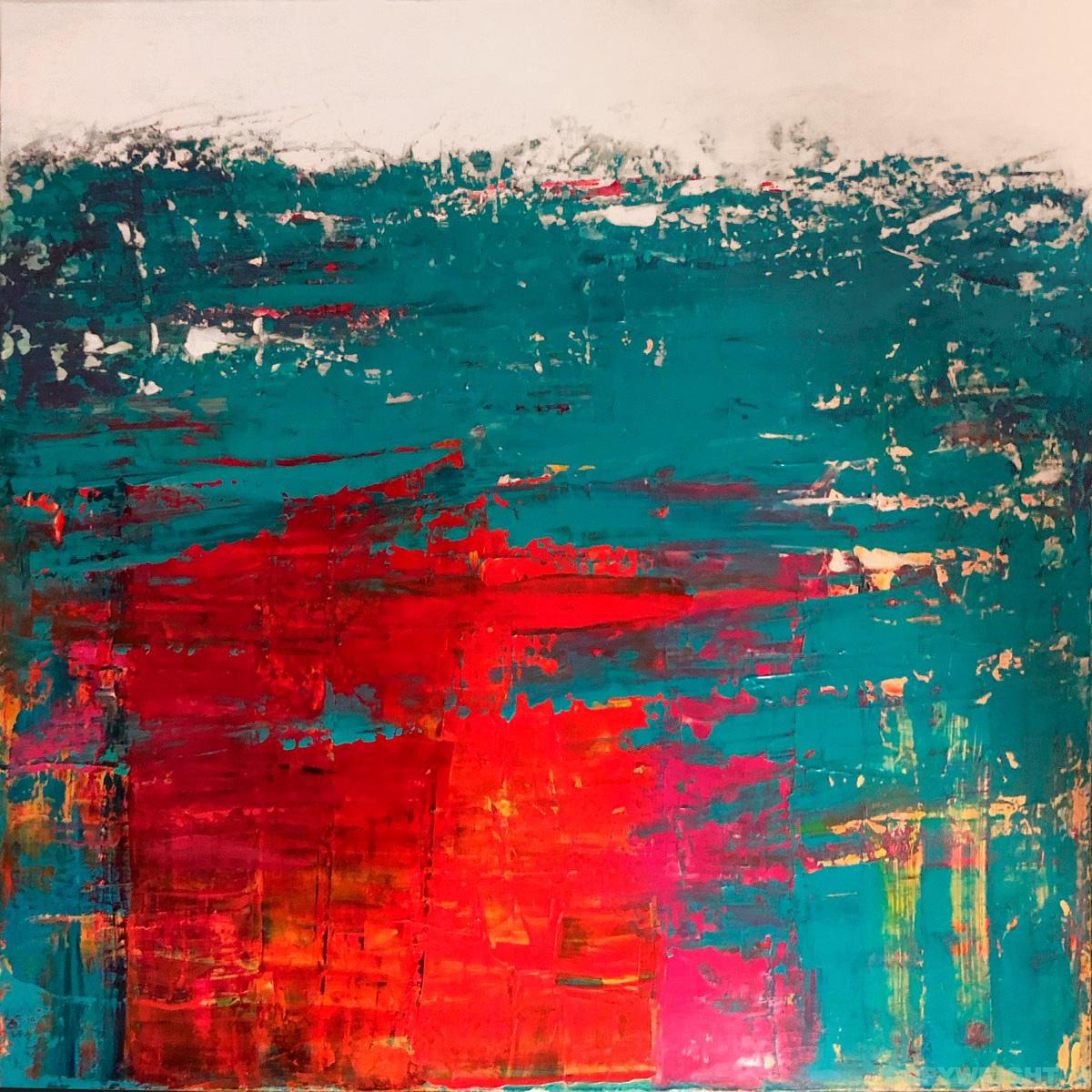 art-peinture- abstraction-tableau-la tache rouge masque le turquoise-Nathalie Noël
