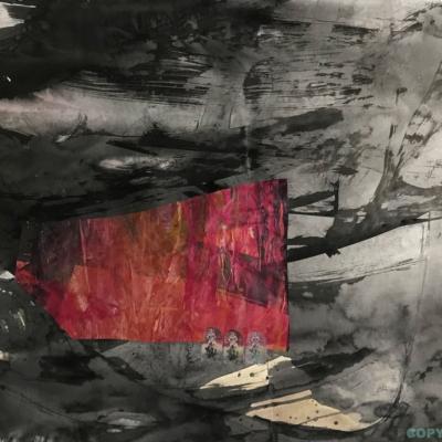 art-peinture- encre- papier- abstraction- tableau- Hélène Patenaude