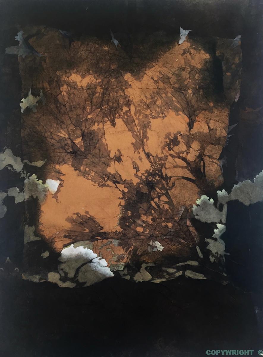 abstraction, paysage imaginaire comme à travers une vitre givrée, tonalité de brun noir, Hélène Paré