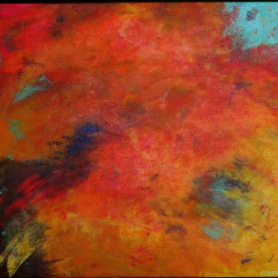 art-peinture- abstraction-tableau-la distance entre deux mondes - Lise Brassard