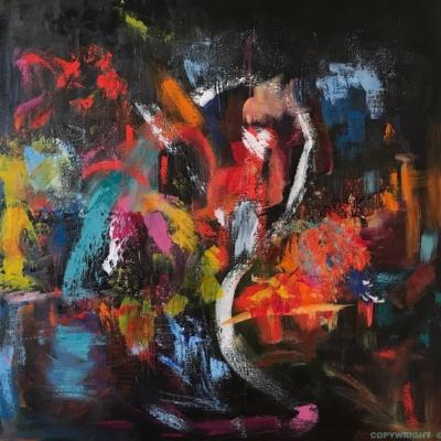 art-peinture- abstraction-tableau-feu de joie - très coloré sur fond noir - Lise Brassard