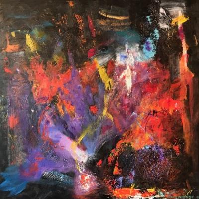 art-peinture- abstraction-tableau-une danse, toujours le feu - Lise Brassard