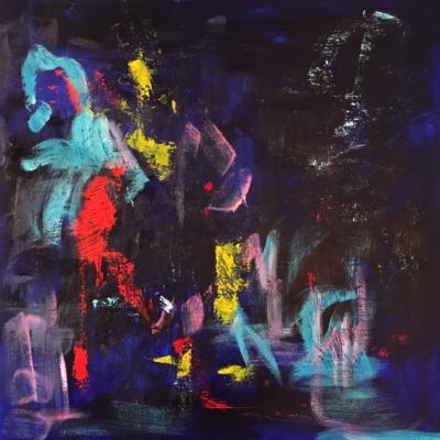 art-peinture- abstraction-tableau-un personnage marchant délicatement sur l'eau, il flotte - Lise Brassard