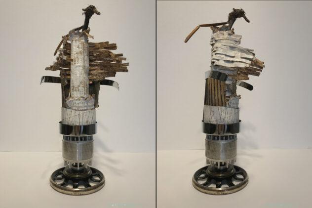 art-sculpture- personnage pivotant sur son socle-objets recyclés-Hélène Patenaude