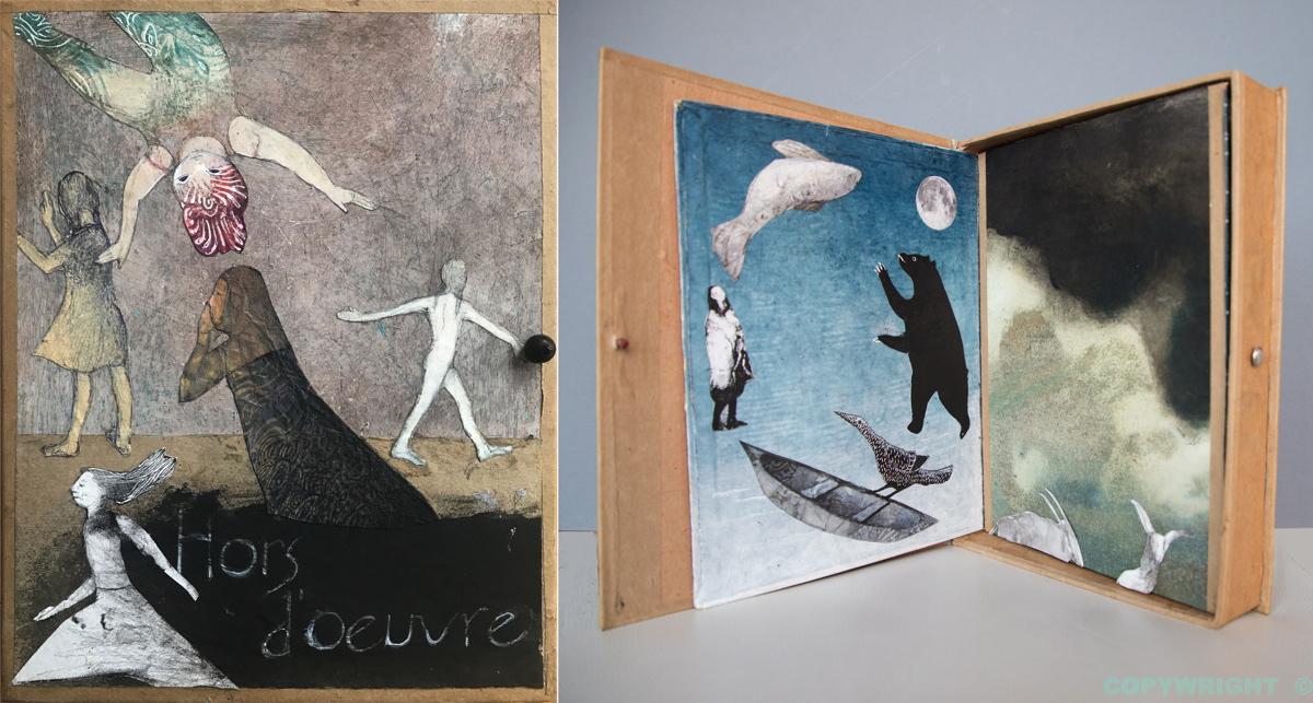 livre-coffret, s'ouvrant sur des images et des poèmes, Hélène Paré