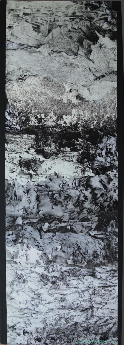 photos-collage-noir et-blanc écorce et débris de papier sur poteau-Hélène-Paré