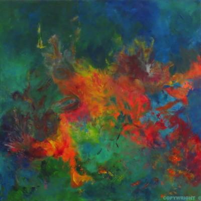 art-peinture- abstraction-tableau-le regard qui se promène, tant de choses à voir, tout bouge - Lise Brassard