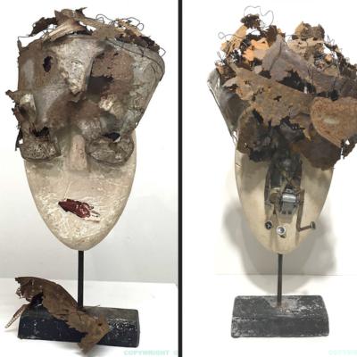 art-sculpture-masque-tête à la coiffe de métal rouillé et d'un visage de plâtre- objets recyclés-Hélène Patenaude