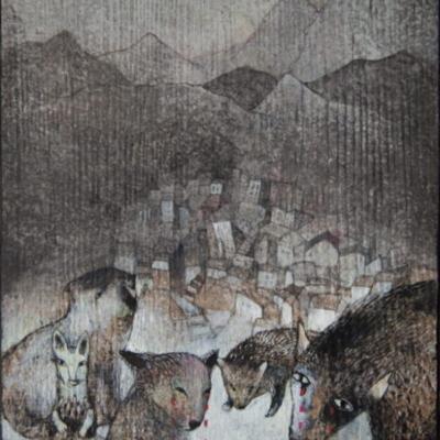 un animal fait la lecture à ses semblables devant un pysage- ville et montagnes, Hélène Paré