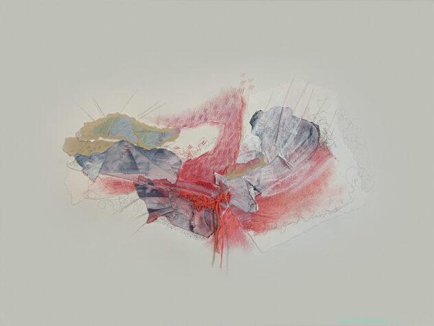 abstraction, collage, médiums mixtes, papiers -déchirés, pastel-sec, Sylvie Brodeur