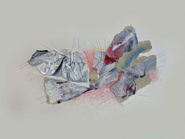 abstraction, collage, médiums mixtes, papiers déchirés, pastel sec, Sylvie Brodeur