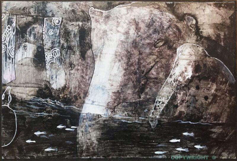 2 éléphants s'abreuvent entre les poissons, tons noir-blanc-sépia, Hélène Paré