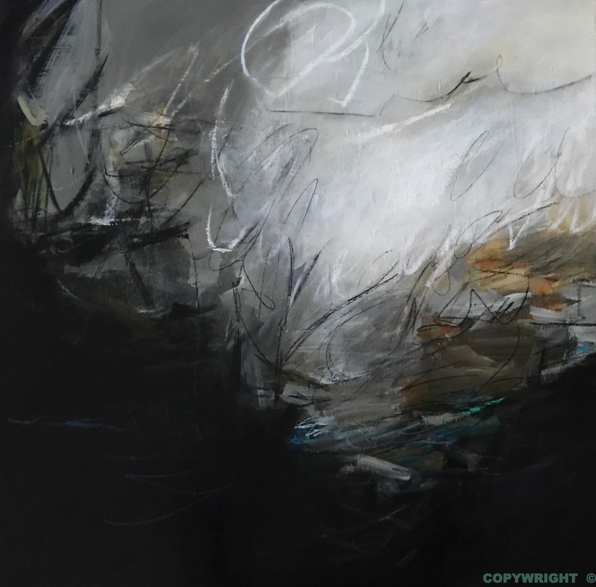art-peinture- abstraction-tableau-une source lumineuse s'échappe du fond d'étang sombre-Nathalie Noël