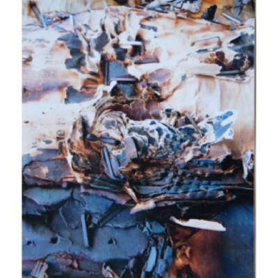 surface rocheuse et débris de papier , abstraction, Hélène Paré