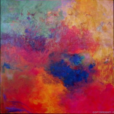 art-peinture- abstraction-tableau-maeltrom de couleur - la légèreté, la liberté - Lise Brassard