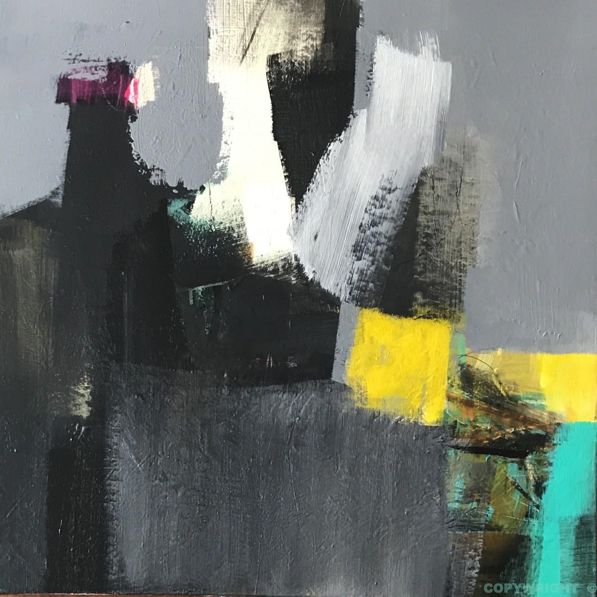 art-peinture- abstraction-tableau-édifice sombre projetant des éclats lumineux-Nathalie Noël