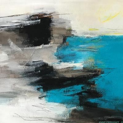 art-peinture- abstraction-tableau-une vague se brise sur la grève-Nathalie Noël
