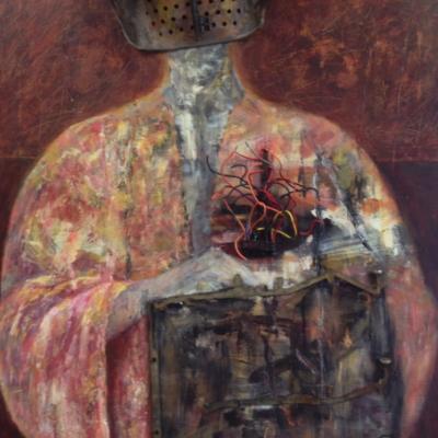 art- tableau- personnage- femme-bas relief- objets recyclés-acrylique- métal sur toile- Hélène Patenaude